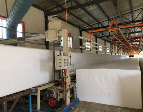 PU foam block cut into sheets